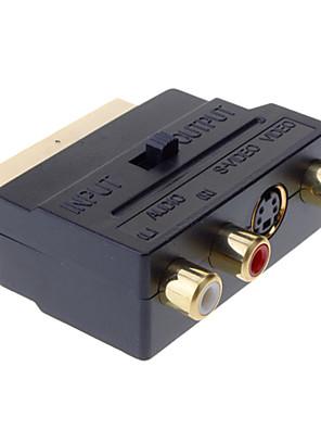 SCART לComposite 3RCA S-Video AV טלוויזיה מתאם שמע