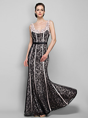 TS Couture® Formal Evening / Military Ball Dress - Vintage Inspired Plus Size / Petite Sheath / Column Straps Floor-length Lace with Beading / Lace