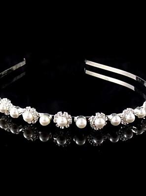 Women's / Flower Girl's Pearl / Rhinestone Headpiece-Wedding Headbands Silver Round
