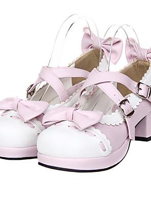 נעליים לוליטה מתוקה נסיכות עקב גבוה נעליים סרט פרפר 4.5 CM לבן / ורוד ל נשים עור פוליאוריתן