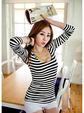 Mulheres Camiseta Casual Simples / Moda de Rua Todas as Estações,Listrado Azul / Branco / Preto / Colorido Algodão / ModalDecote em U