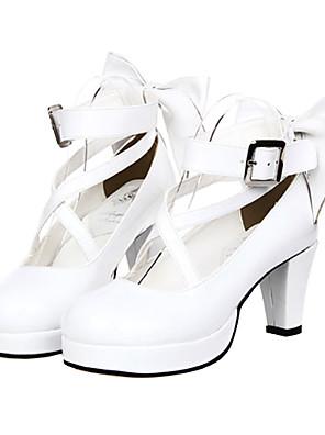 Bowknot Blanc Vernis PU cuir classique Lolita Chaussures 7cm à talons hauts