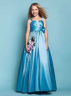 Lanting Bride® Longo Tafetá Vestido de Daminha de Honra Linha A / Princesa Alças Natural com Flor(es) / Faixa / Fita / Cruzado