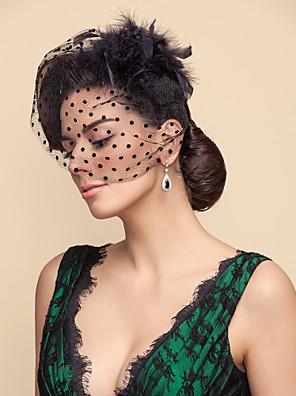 הינומות חתונה שכבה אחת צעיפי סומק / Birdcage Veils טול לבן / שחור קו A, שמלת נשף, נסיכה, חצוצרה / בת הים, נדן / טור