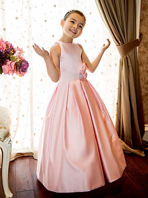 Lanting Bride A-linje / Prinsesse Gulvlang Blomsterpigekjole - Satin U. ærmer Høj halset med Blomst(er) / Bælte / bånd
