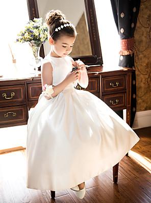 Lanting Bride A-linje / Prinsesse Te-længde Blomsterpigekjole - Satin U. ærmer Høj halset med Sløjfe(r) / Ruche