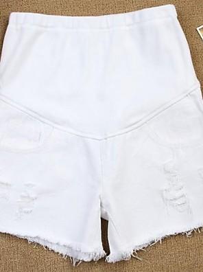 Mateřská White Denim Bottoms Těhotné ženy Lemovaný Opotřebované s otvory Shorts Summer