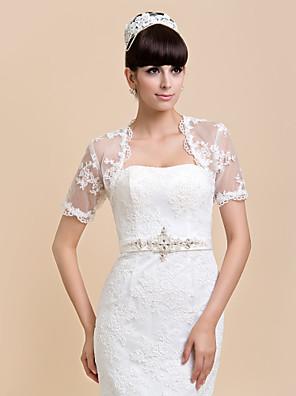 Wedding  Wraps Shrugs Short Sleeve Lace Ivory / White Wedding / Party/Evening / Casual T-shirt Open Front