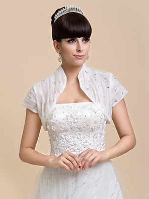 Wedding  Wraps Shrugs Short Sleeve Chiffon White Wedding / Party/Evening / Casual Open Front