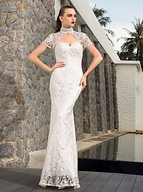Lanting bruden skjede / kolonne petite / pluss størrelser brudekjole-gulv-lengde kjæreste blonder / sateng
