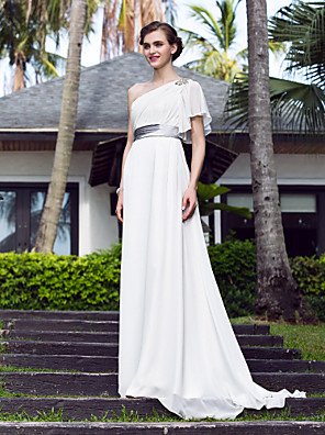 몸집이 작은 A 라인 신부 lanting / 플러스 웨딩 드레스 - 청소 / 브러쉬 기차 하나 어깨 스트레치 새틴 / 조젯 크기