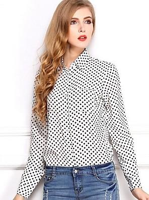 מנוקד צווארון חולצה פשוטה יום יומי\קז'ואל חולצה נשים,אביב / קיץ / סתיו שרוול ארוך לבן / שחור דק