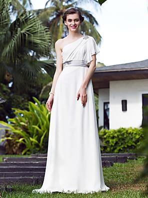 Lanting Bride® A-line Petite / Plus Sizes Wedding Dress - Elegant & Luxurious Simply Sublime Sweep / Brush Train One ShoulderStretch