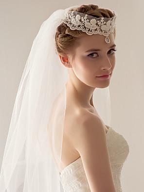 Welony ślubne Dwustopniowe Welony Fingertip / Stroiki z zasłoną 47,24 cali (120cm) Tiul Biały Biały / Kość słoniowa-Line, Ball Gown,