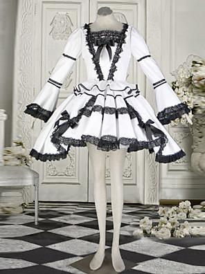 Naughty Girl Long Sleeve Short-length White Cotton Classic Lolita Dress