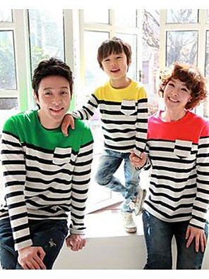 Family's Fashion Joker Leisure Cute Stripe Long Sleeve Parent Child T Shirt