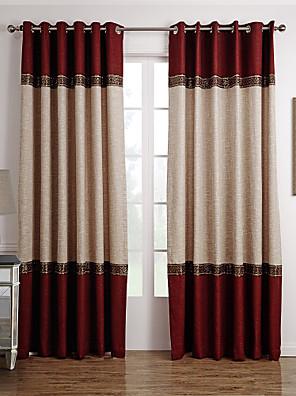 To paneler Vindue Behandling Neoklassisk , Solid Stue Polyester Materiale Gardiner forhæng Hjem Dekoration For Vindue