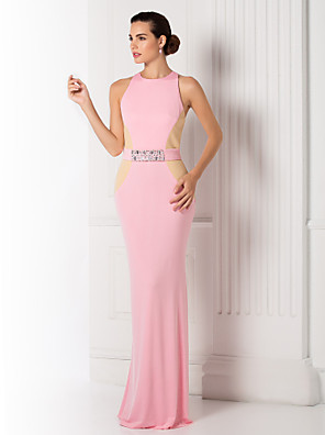 Skoleball / Formell kveld / Militærball Dress - Elegant Havfrue Besmykket Gulvlang Jersey med Perler / Belte / bånd