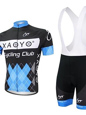 XAOYO® חולצת ג'רסי ומכנס קצר ביב לרכיבה לגברים שרוול קצר אופניים נושם / ייבוש מהיר / כיס אחורי מדים בסטים פוליאסטר / 100% פוליאסטר טלאים