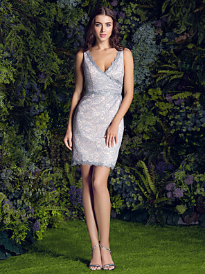 Lanting Bride® Kort / Mini Kant Bruidsmeisjesjurk Strak/kolom V-hals Grote maten / Petite met