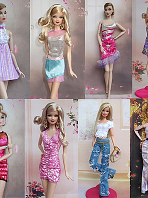 Fest/Aften Kjoler Til Barbie Doll Lyserød Kjoler For Pigens Doll Toy