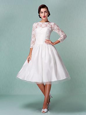 Lanting Bride® Linha A Pequeno / Tamanhos Grandes Vestido de Noiva - Chique e Moderno / Recepção Vestidos Brancos Justos Até os Joelhos