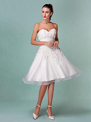 Lanting bruden-line / princess petite / pluss størrelser brudekjole-kne-lengde kjæreste organza / sateng