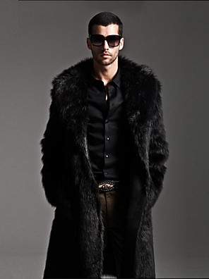 moda pele de vison colar cor pura imitação de peles quente casaco longo dos homens
