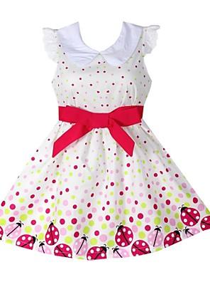 שמלה דפוס כותנה אורגנית קיץ / אביב / סתיו לבן הילדה של