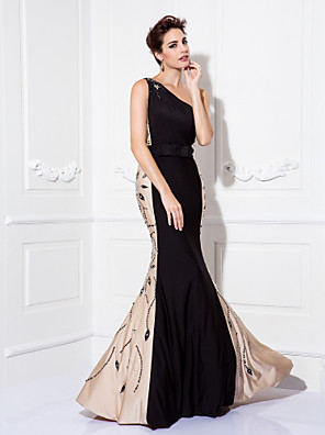 TS Couture® Prom / Formal Evening / Military Ball / Black Tie Gala Dress - Elegant / Sparkle & Shine Plus Size / Petite Trumpet / Mermaid One Shoulder