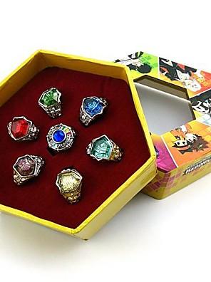 תכשיטים קיבל השראה מ Reborn! קוספליי אנימה אביזרי קוספליי טבעת אדום / צהוב / כחול / סגול / ירוק / כסף סגסוגת / אבני חן מלאכותייםזכר /