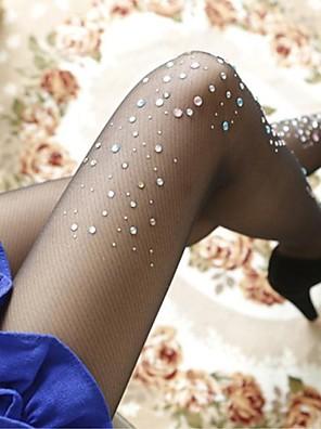 Women's Fashion Temperament Ultra-thin Fine Grid Rhinestones Pantyhose Hosiery