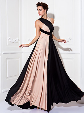 TS Couture® Prom / Formal Evening / Military Ball Dress - Color Block Plus Size / Petite Sheath / Column Floor-length Knit with
