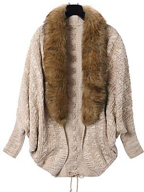 Dames Normaal Cloak / Capes Effen-Beige Lange mouw Wol / Overige Alle seizoenen Medium Micro-elastisch
