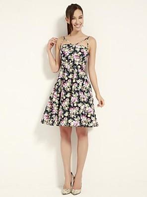 Women's Holiday Dress Above Knee Sleeveless Blue / Yellow Cotton / Spandex All Seasons / Spring / Summer / Fall / Winter