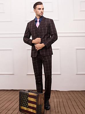 Obleky Slim Úzké otevřené Jednořadé s jedním knoflíkem 3 ks Kávová Rovné s klopou
