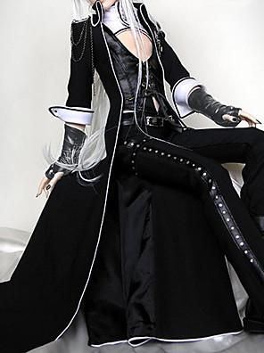Roupa Punk Lolita Cosplay Vestidos Lolita Preto Cor Única 3/4 de Manga Lolita Casaco / Colete / Calças Para FemininoPele / Uniforme de