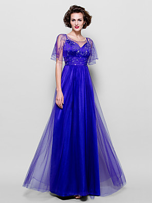 A-line Plus Size / Petite Mother of the Bride Dress - See Through Floor-length Short Sleeve Tulle withBeading / Crystal Detailing / Sash
