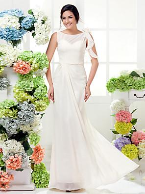 Lanting Bride® Longo Chiffon Vestido de Madrinha - Tubinho Canoa Tamanhos Grandes / Mignon com Flor(es) / Faixa / Fita