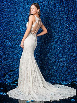Lanting Bride® Mořská panna Drobná / Nadměrné velikosti Svatební šaty Průsvitné Extra dlouhá vlečka Klenot Krajka s