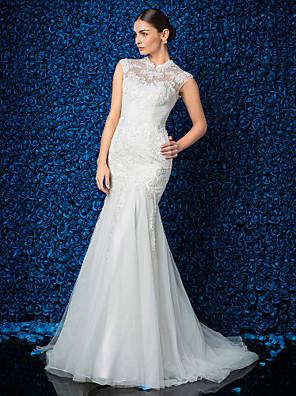Lanting novia trompeta / sirena petite / tallas grandes de boda del vestido de barrido / cepillo tren de cuello alto de encaje / tul