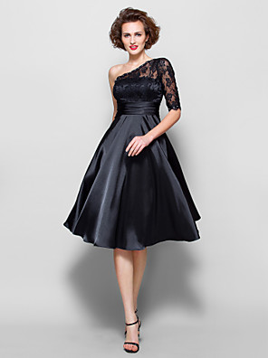 A-line Plus Size / Petite Mother of the Bride Dress - See Through Knee-length Half Sleeve Lace / Stretch Satin withBeading / Lace /