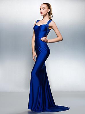 Formeller Abend Kleid - Schöner Rücken Trompete / Meerjungfrau Queen Anne Pinsel Schleppe Jersey mitPerlstickerei / Kristall Verzierung /