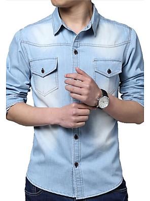 האופנה הקלאסית של הגברים שטפה חולצה עם שרוולים ארוכות ג'ינס