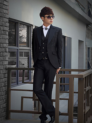 černý tisk slim fit smoking z polyesteru
