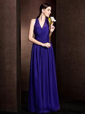 Lanting Bride® Na zem Šifón Šaty pro družičky - A-Linie / Princess Do V Větší velikosti / Malé s Šerpa / Stuha / Křížení / Sklady