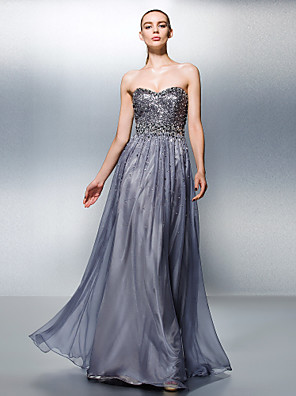 ts couture® vestido de noite formal plus size / petite uma linha tencel Querida Andar de comprimento com beading / lantejoulas