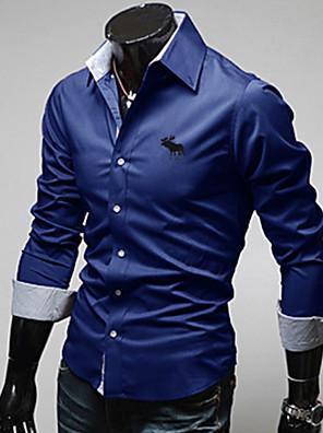 huizi mænds mode afslappet slank stå krave langærmede t-shirts