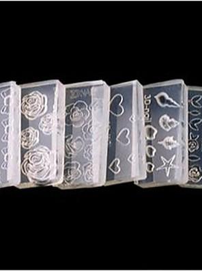 6 stil akryl blomster 3d nail art skimmel diy dekoration mode