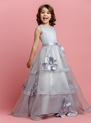 Lanting Bride A-line Floor-length Flower Girl Dress - Organza / Satin Sleeveless Jewel with Buttons / Flower(s) / Sash / Ribbon